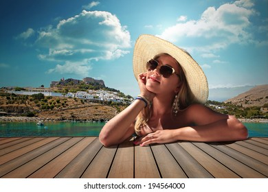 vintage color girl with sunglasses and straw hat