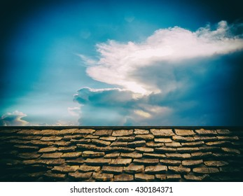 Vintage color style of wooden roof pattern and blue sky background
