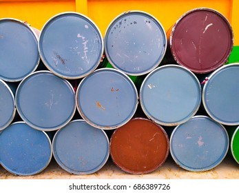 Vintage color tone of oil fuel toxic chemical steel tank container. / Mobile Photography