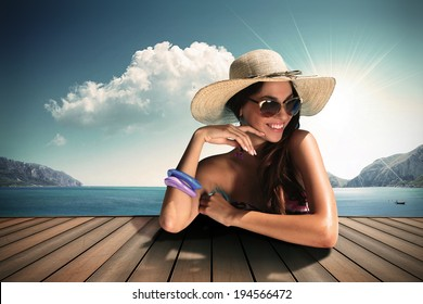 vintage colour girl with sunglasses and straw hat