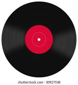 Vintage coloured vinyls records set isolated on white