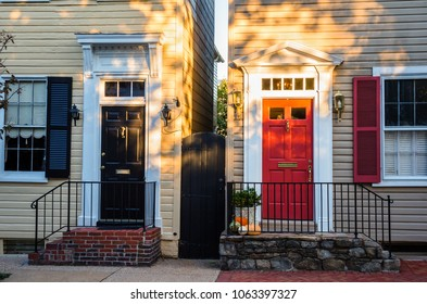 Vintage Colourful Front Doors of two Old Wooden Houses in the Historic District of Alexandria, VA