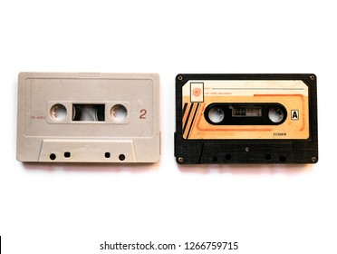Vintage Compact Audio Cassettes , also commonly called the cassette tape in old condition on white background.
