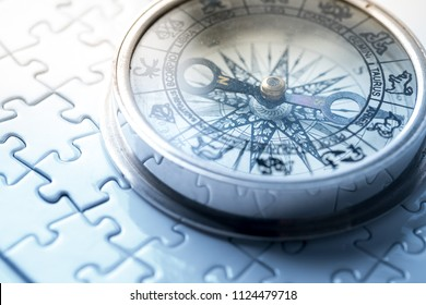 Vintage compass in business concept - strategy