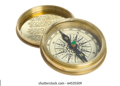 Vintage compass and cover studio isotaion on white background.