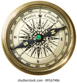 Vintage compass studio isotaion on white background.