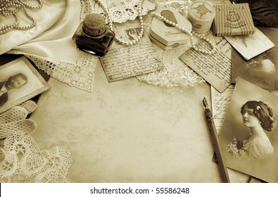 Vintage composition with original accessories from circa 1920s