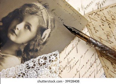 Vintage composition with photo of lovely girl