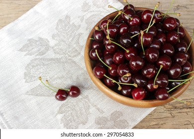 Vintage composition with sweet cherries