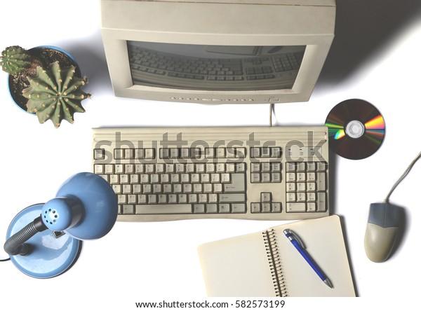 Vintage computer. Working space. Top view.