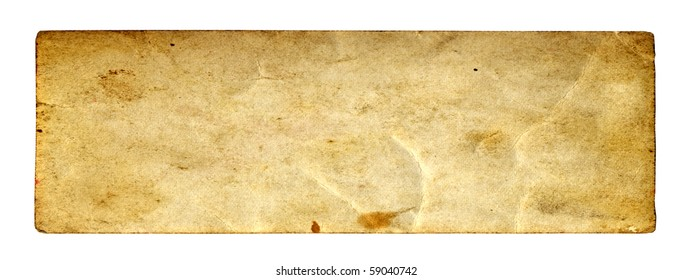 Vintage concept conceptual old retro aged paper texture isolated on white background. Abstract damaged parchment or label, as a banner for grunge, ornament, book, letter, time, pattern history designs
