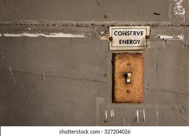 Vintage Conserve Energy Reminder