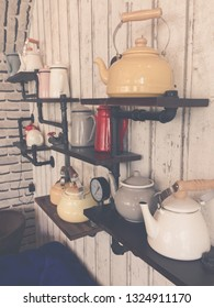 Vintage cookware on wood background
