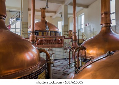 Vintage copper kettle in brewery - Belgium