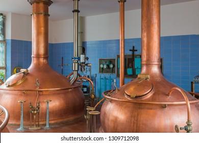Vintage copper kettle in brewery - Belgium