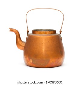 vintage copper kettle isolated on white background