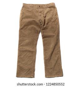 Vintage corduroy cord jeans on white background