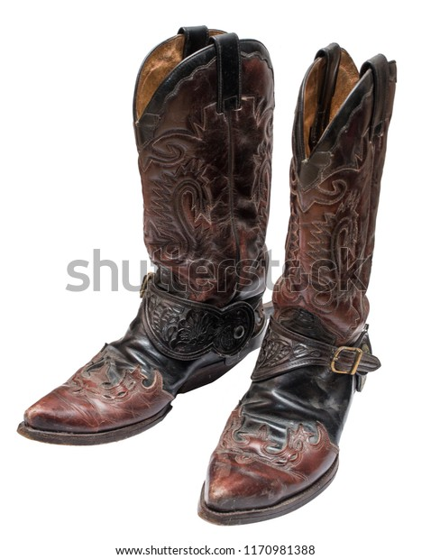 45d7079b868 Vintage Cowboy Boots Spurs Isolated On Stock Photo (Edit Now) 1170981388