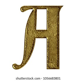 Vintage cracked gold metal letter A (uppercase or capital) in a 3D illustration with a worn golden texture and royal ancient font isolated on a white background with clipping path.