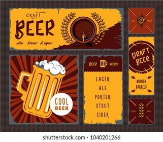 Vintage craft beer banner set illustration. Retro draft beer poster collection, pub or bar alcohol menu template, restaurant website, brewery design. Old style craft beer graphic