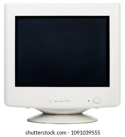 Vintage CRT computer monitor with black screen isolated on white background
