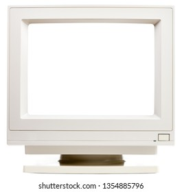 Vintage CRT computer monitor with cut out screen isolated on white background