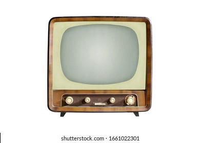 Vintage CRT TV set isolated on white background, retro alanog television technology