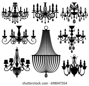 Chandelier silhouette images stock photos vectors shutterstock vintage crystal chandeliers silhouettes isolated on white black silhouette chandelier with candle illustration aloadofball Gallery