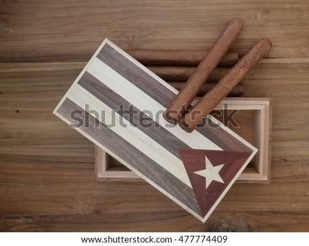 Vintage Cuban Cigar Box Two Cigars Stock Photo Edit Now 477774409