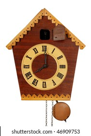 Vintage Cuckoo Clock isolated on white