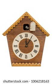 Vintage cuckoo clock isolated over white