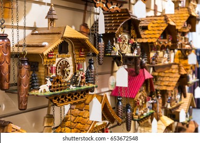 Vintage Cuckoo Clock at Lake Titisee Neustadt in the Black Forest. Germany.