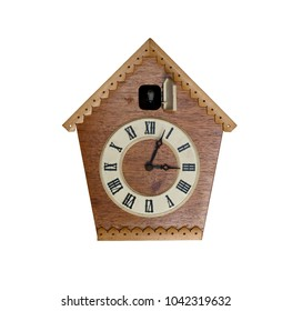 Vintage cuckoo clock on white background. Isolated