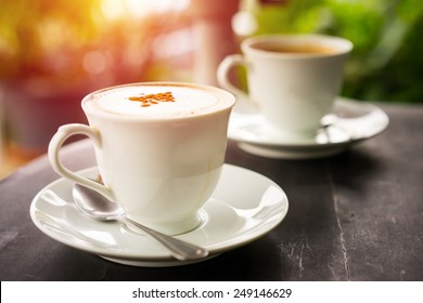 Vintage of cup of hot espresso coffee
