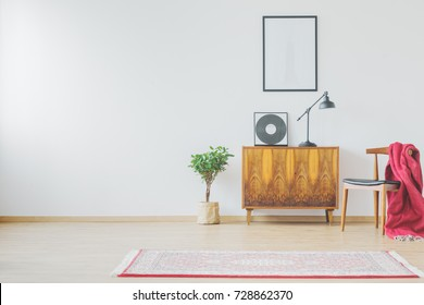 Vintage cupboard, chair, vinyl record, retro lamp, rug and red blanket in stylish bright living room space