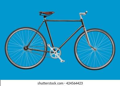 Vintage custom singlespeed bicycle isolated on blue background