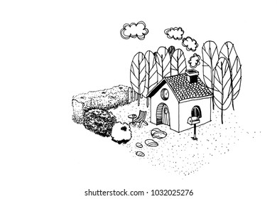 Vintage cute houses with lawn in forest. Drawing by hand. Black and white sketch.
