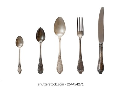 Vintage cutlery on the white background