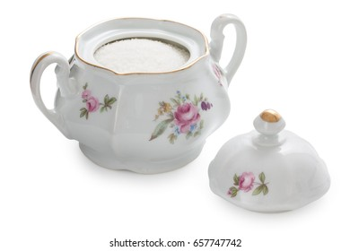 Vintage czech porcelain sugar-bowl, old style rich decorated by flower decors, isolated on a white background.
