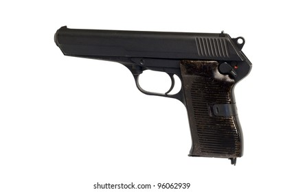 vintage czechoslovakian military pistol with clipping path at original size