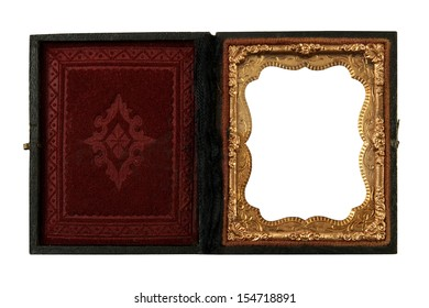 vintage Daguerreotype case for tin pictures on a white background