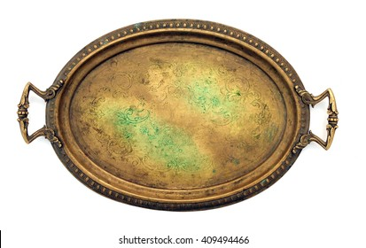 Vintage decorated brass tray with handles