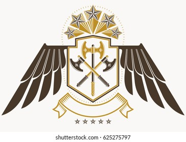 Vintage decorative heraldic emblem composed using eagle wings, hatchets and pentagonal stars