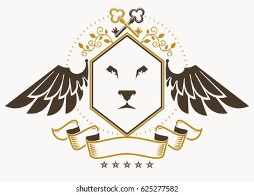 Vintage decorative heraldic emblem composed using eagle wings, wild lion illustration and pentagonal stars