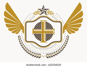 Vintage decorative heraldic emblem composed with eagle wings, Christian religious cross and pentagonal stars
