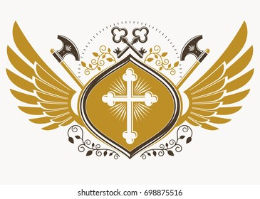 Vintage decorative heraldic emblem composed with eagle wings, Christian religious cross and hatchets