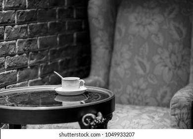 Vintage decorative style, coffee on table