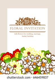 Vintage delicate invitation with flowers for wedding, marriage, bridal, birthday, Valentine's day