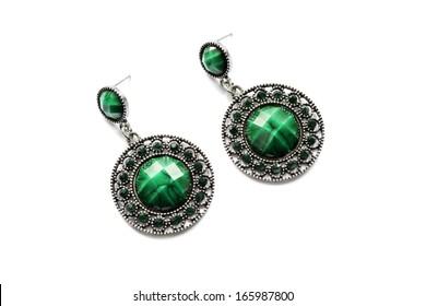Vintage delicate malachite earrings on white background