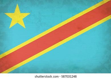 Vintage Democratic Republic of Congo flag pattern